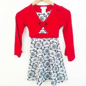 Bonnie Jean Holiday Dress w/Attached Sweater 8